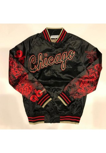 Chicago Bulls Mitchell & Ness NBA Men's Chicago 6 Ring Collection Satin Jacket